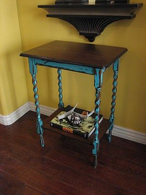 European Paint Finishes: Barley Twisted Teal Table ~