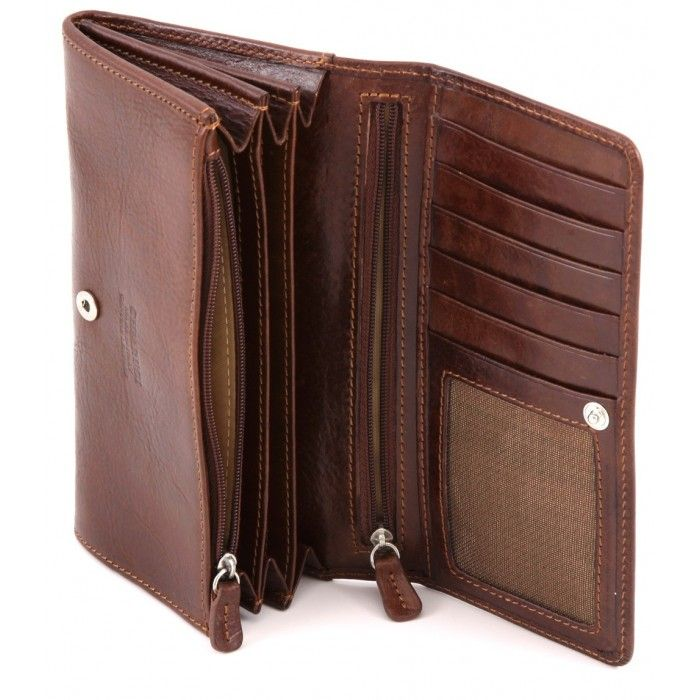 Chiarugi women's leather wallet documents credit cards holder Made in Italy