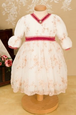 """""""Anastacia"""" beautiful christening gown, with soft pink embroidery and swarovski elements.   http://www.petitecoco.ro/shop/en/tres-chic/29-anastacia-dress.html"""