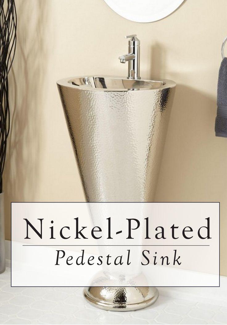 Column Nickel Plated Copper Pedestal Sink Pedestal Sink Contemporary Bathrooms And Pedestal