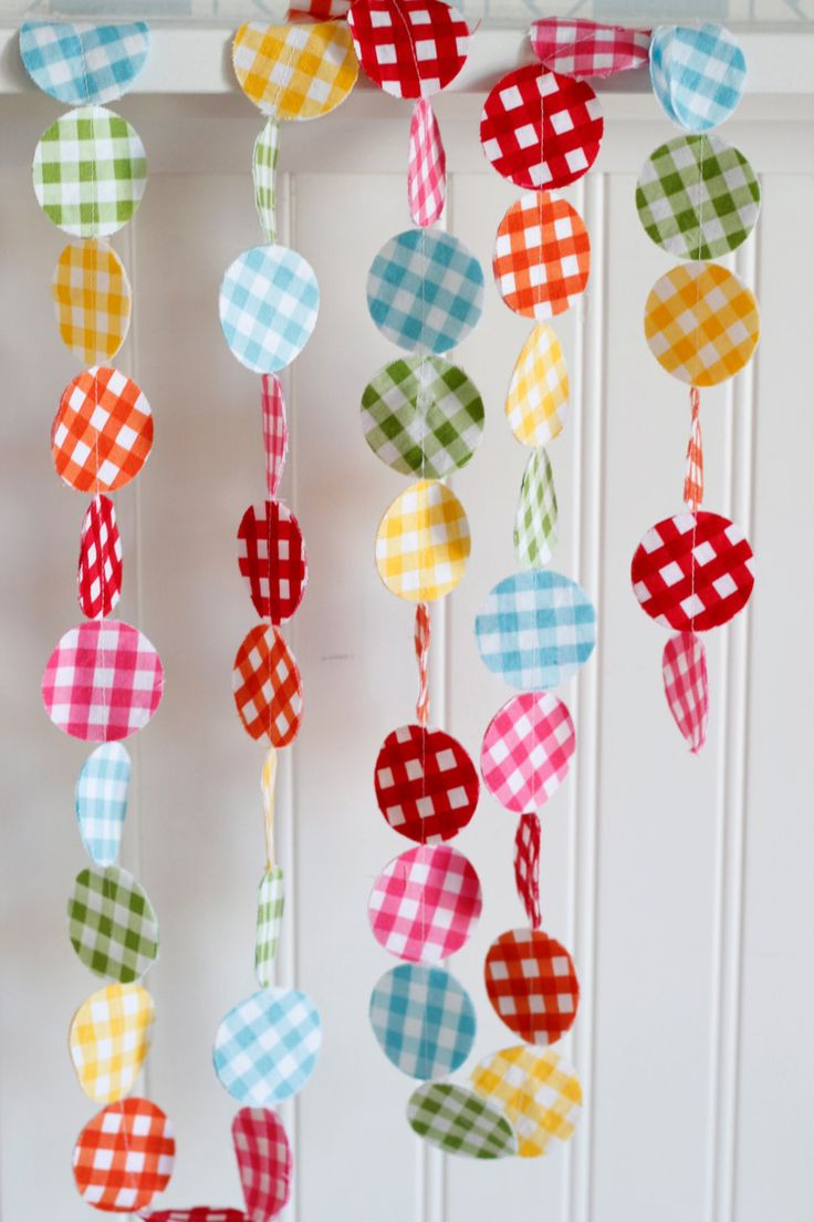 Rainbow Gingham Fabric Garland 6 feet, Red, Orange, Yellow, Green, Blue, Pink. $12.00, via Etsy.