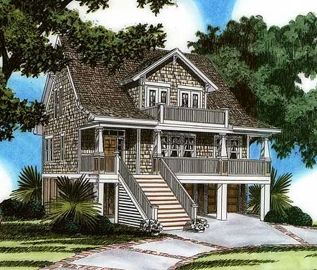 Plan 15023nc raised house plan living rec rooms house for Coastal living house plans for narrow lots