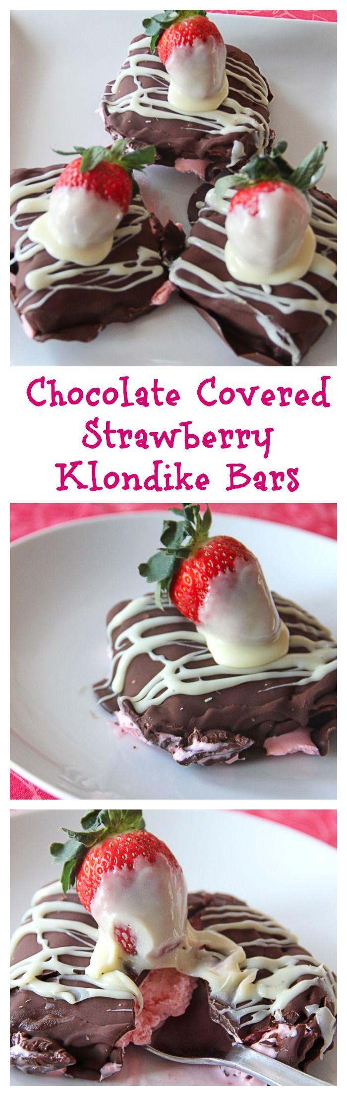 Chocolate Covered Strawberry Klondike Bars | Grandbaby Cakes