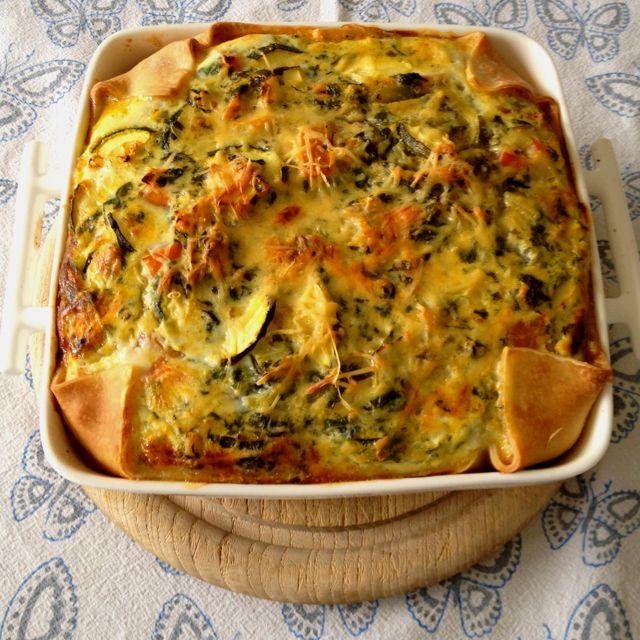 Verwarm de oven op 200 graden rul het gehakt(400) voeg de verse spinazie(na 2 min koken), tomaat, knoflook (na eigen smaak), 2 uien, 2 tomaten (groot) en de courgette toe en bak dit circa 5 min tot de groente zacht zijn. Vet de ovenschaal in en bedek deze met hartige taart bladerdeeg. Maak een saus van ei, scheutje melk en de kaas en giet dit over de inhoud. 40 min in de oven en klaar! PS: Voeg extra zout en peper toe om het gehakt op smaak te brengen