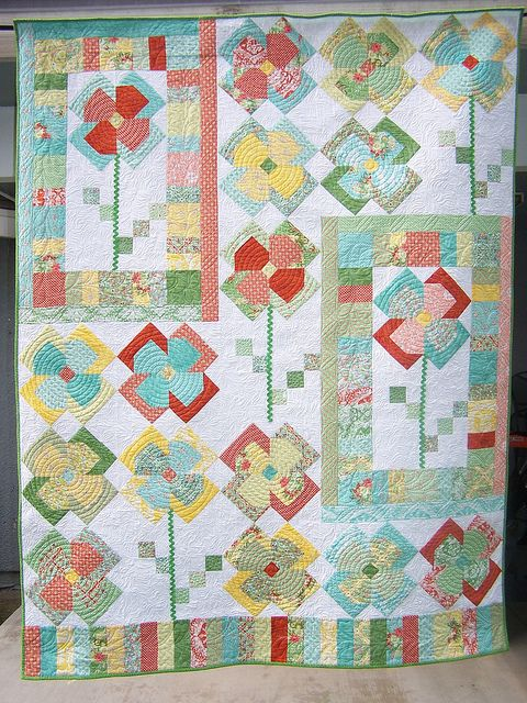 not badAmazing, Flickr, Bonnie363, Patches Quilt, Flower Patches A, Beautiful Quilt, Creative Design, Flower Quilts, Flora Fabrics