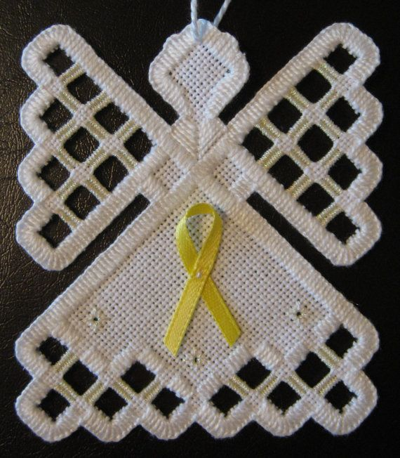 Hardanger Angel Ornament  Cream with Yellow by twistedthreads, $11.00