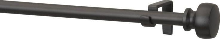 "Rorke Black .75"" 88""–120"" Curtain Rod Set  | Crate and Barrel"