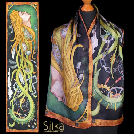 Steampunk silk scarf Hand painted shawl art nouveau silk scarves black green yellow one of a kind gift for her woman face accessories