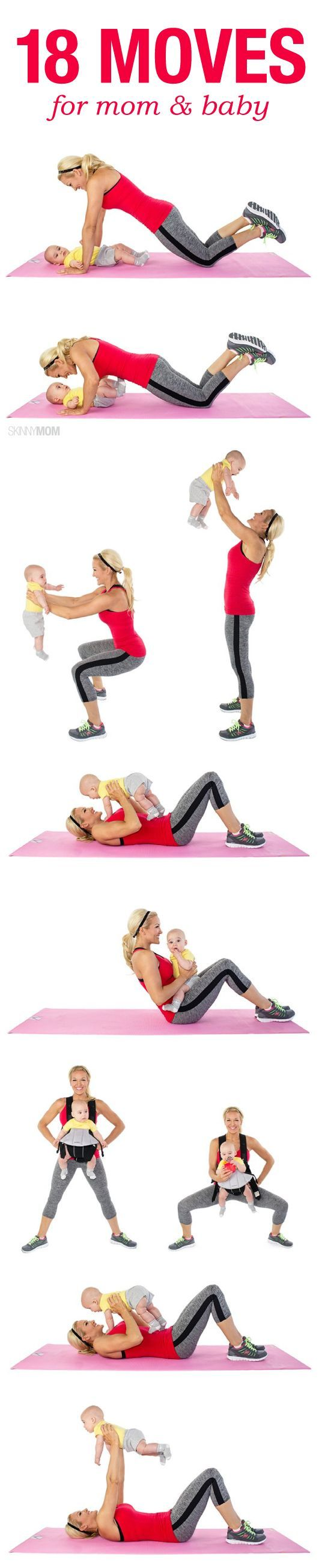 Let your baby be your weight with these 18 fitness moves to do with your little one by your side.