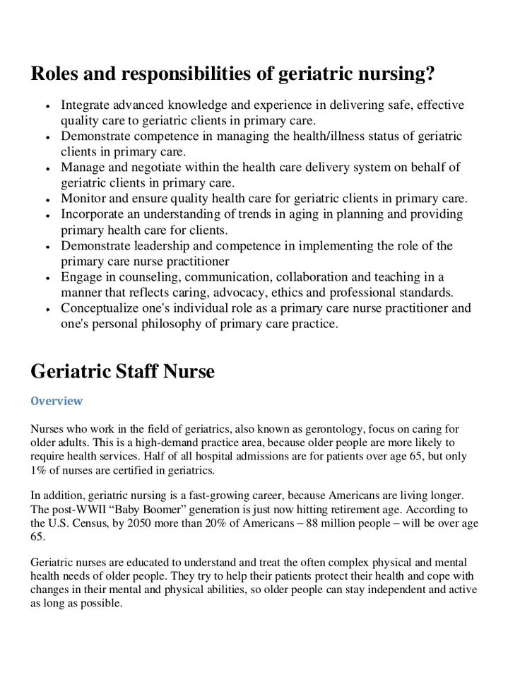 Roles and responsibilities of geriatric nursing