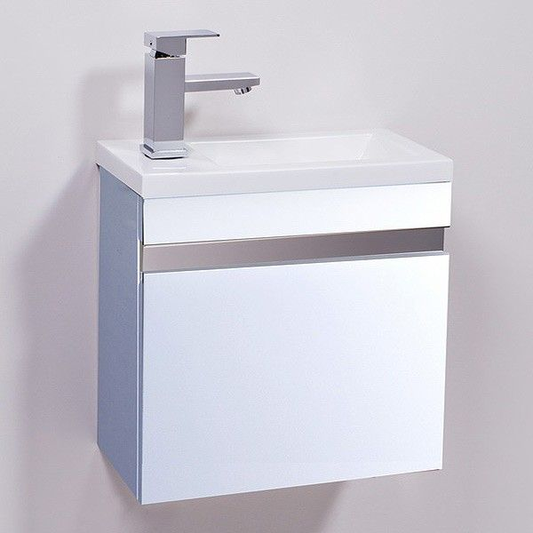 Vigo 420mm Wall Mounted White Vanity Unit | Vigo 420mm wall mounted white vanity unit. A stylish vanity unit which is ideal for smaller bathrooms such as en-suites and cloakrooms. Unit comes complete with 1 tap hole basin decorative stainless steel plates and soft close door hinges.
