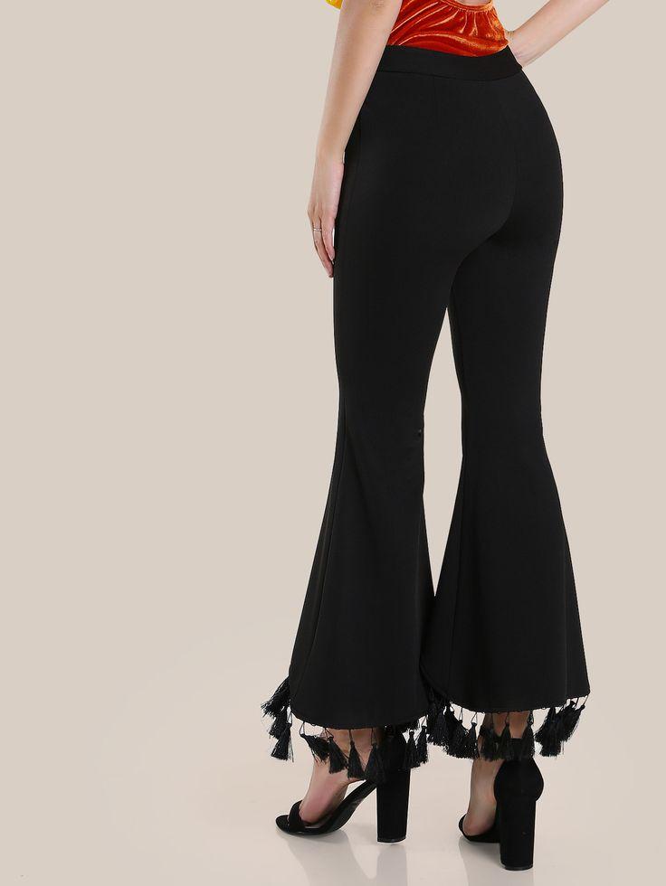 Pantalones con ribete de borlas con vuelo -Spanish SheIn(Sheinside)