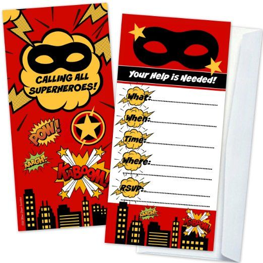 Superhero Birthday Party Invitations (12 Count with Envelopes) - Large 4 x 9 Inch on Sturdy Cardstock - Flat Two Sided Design