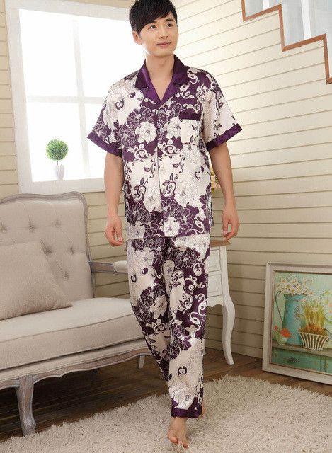 Men sleepwear mens pajamas faux silk male sleepwear men pyjamas men's satin pajamas mens pajama sets men loungewear homewear