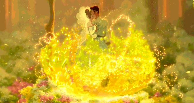 Moment #1: When Tiana and Naveen go from adorable amphibians to cute couple. It's magical, it's romantic, it's perfect. This meadow is also the perfect backdrop to exchange vows.