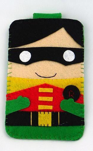 Hero collection Robin Batman Handmade felt phone case por MyOwnDoll
