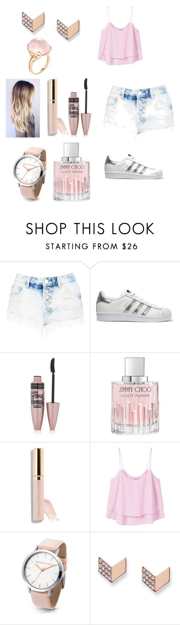 """""""If your a baby pink lover 💗💗💗"""" by rennpe ❤ liked on Polyvore featuring Boohoo, adidas Originals, Maybelline, Jimmy Choo, MANGO, FOSSIL and Goshwara"""