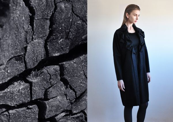 Aroma30 outfit - Wool coat with artisanal embellishments on the collar
