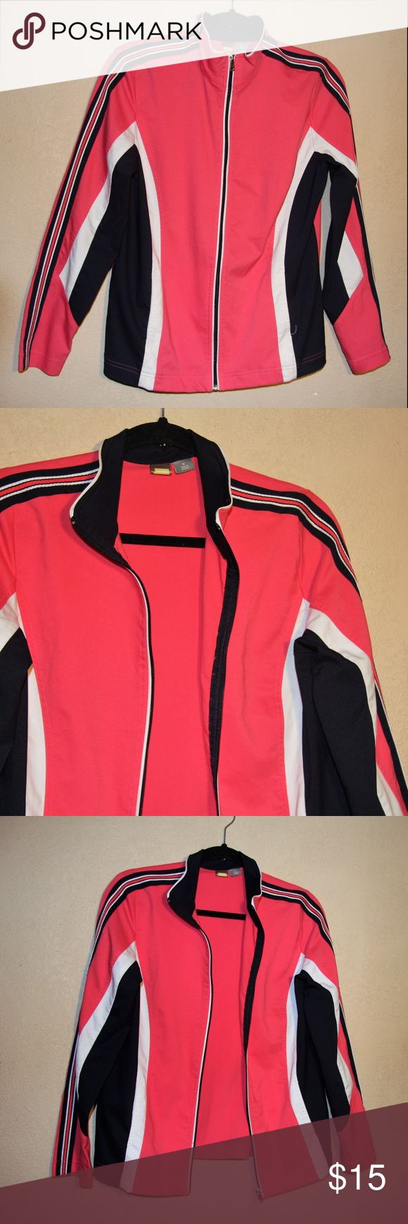 "SJB-Active -Sz-M-Athletic-Track-Wear Windbreaker SJB Active Women's M Full Zip Athletic Jacket. No rips or stains. EUC  MEASUREMENTS MEDIUM SIZE  Chest 20.5""- 41"" IF DOUBLED (WITHOUT CONSIDERING STRETCH)  Hot pink, navy blue and white  Zip up  long sleeve  2 front pockets  Has stretch Vintage Jackets & Coats"