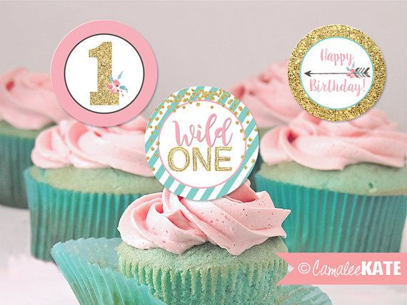 wild one arrow printable birthday party cupcake toppers or favor tags pink teal blue gold. Black Bedroom Furniture Sets. Home Design Ideas