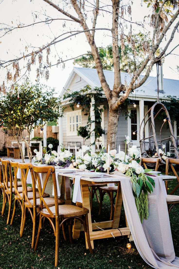 Cross back timber chairs, white vintage timber trestle, south coast weddings, south coast nsw, south coast party hire