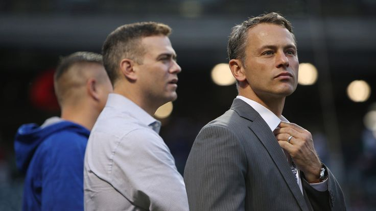Game 6 Brian Cassella / Chicago Tribune Chicago Cubs President Theo Epstein, center, and general manager Jed Hoyer, right, talk on Nov. 1, 2016, before Game 6 of the World Series at Progressive Field in Cleveland.