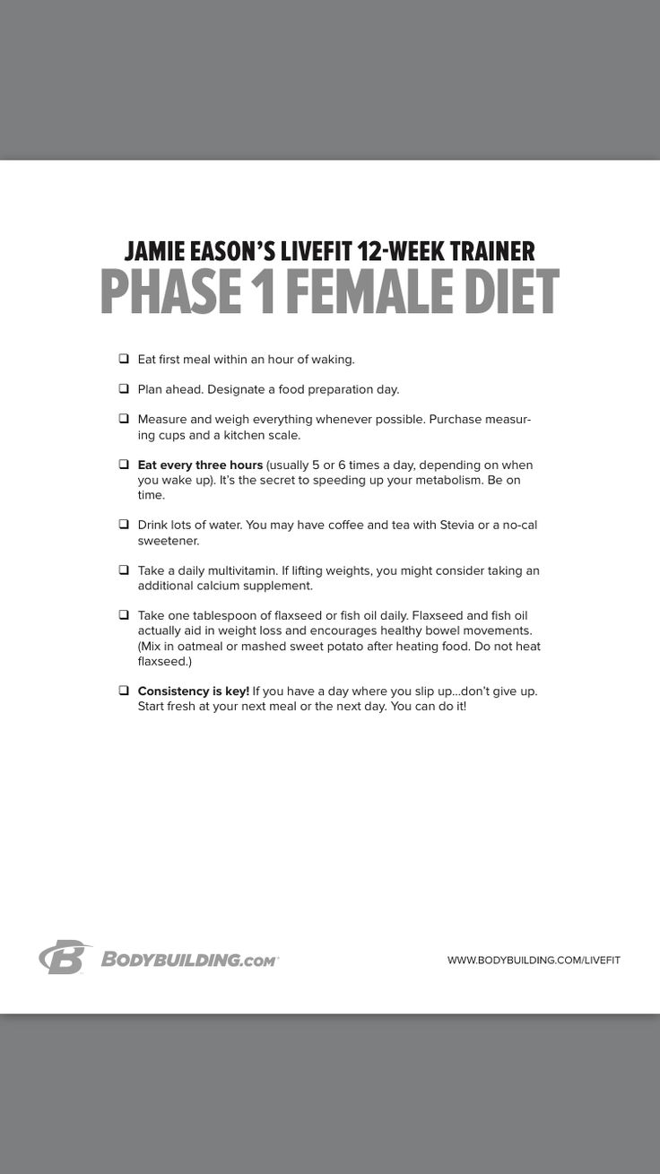 Jamie Eason phase 1 meal plan | Jamie Eason Live Fit ...