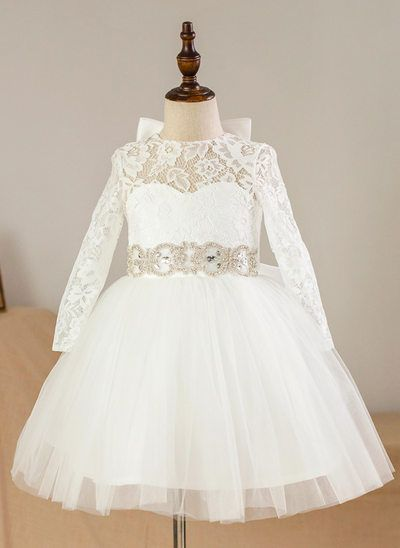 Lace Knee Length Flower Girl Dress