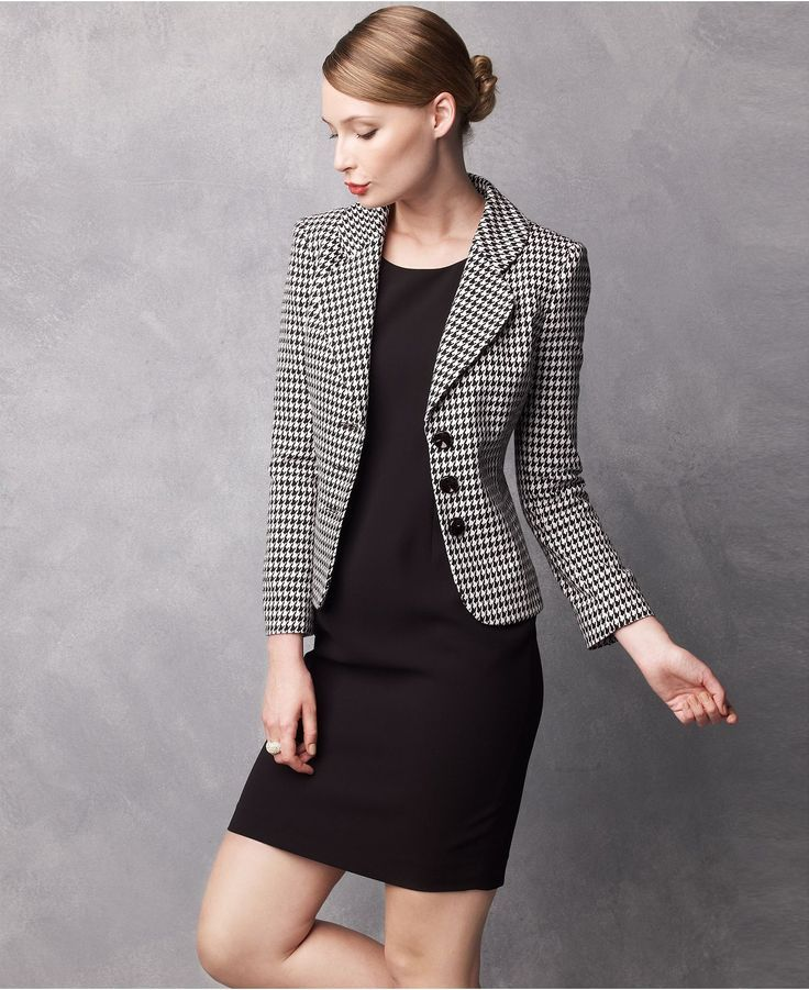 black sheath dress w/ herringbone blazer | Skirt the Ceiling | skirttheceiling.com