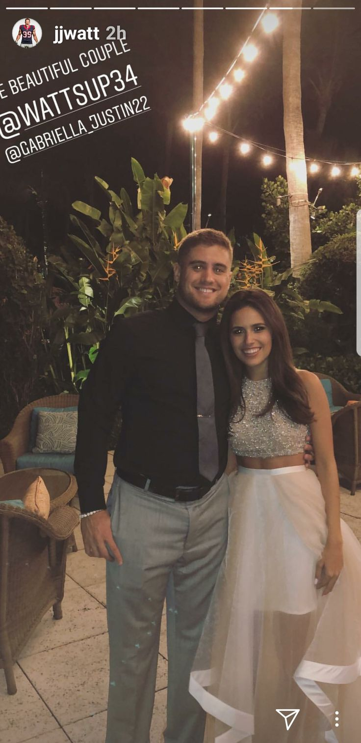 JJ Watt's Instagram- 2.16.18 - Derek & Gabriela night before the wedding- #DreamBigWorkHard #HuntGreatness #JustAKidFromPewaukee #BoltUp