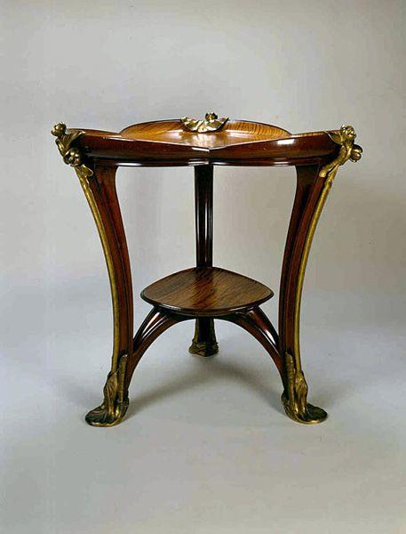 """Louis Majorelle (1859-1926), """"Aux Nénuphars"""", 1900 et 1902. Description: AN  IMPORTANT ART NOUVEAU TABLE 'AUX NÉNUPHARS ' mahogany, tamarind veneer, gilt bronze"""