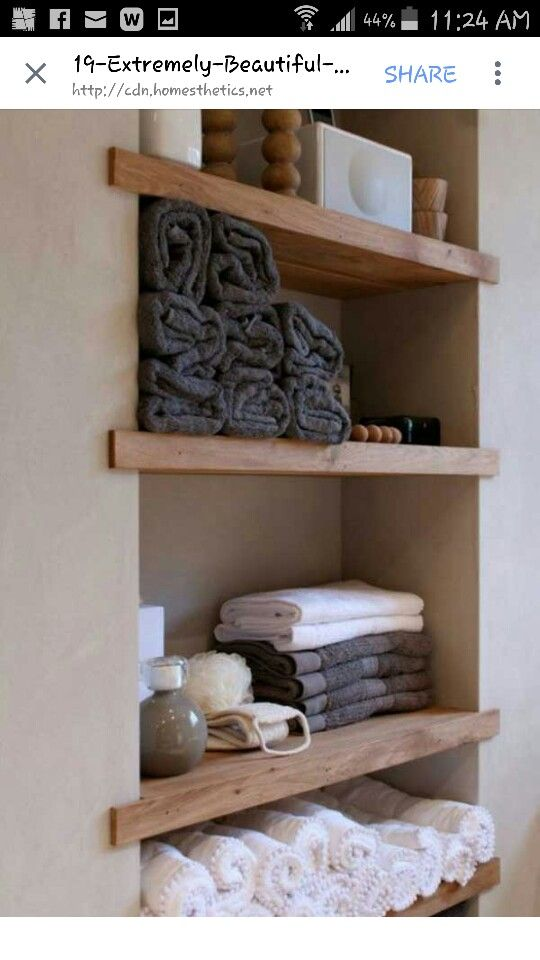 Built in shelves by the bathtub