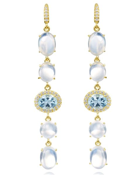 Lauren K moonstone and aquamarine Gemma earrings