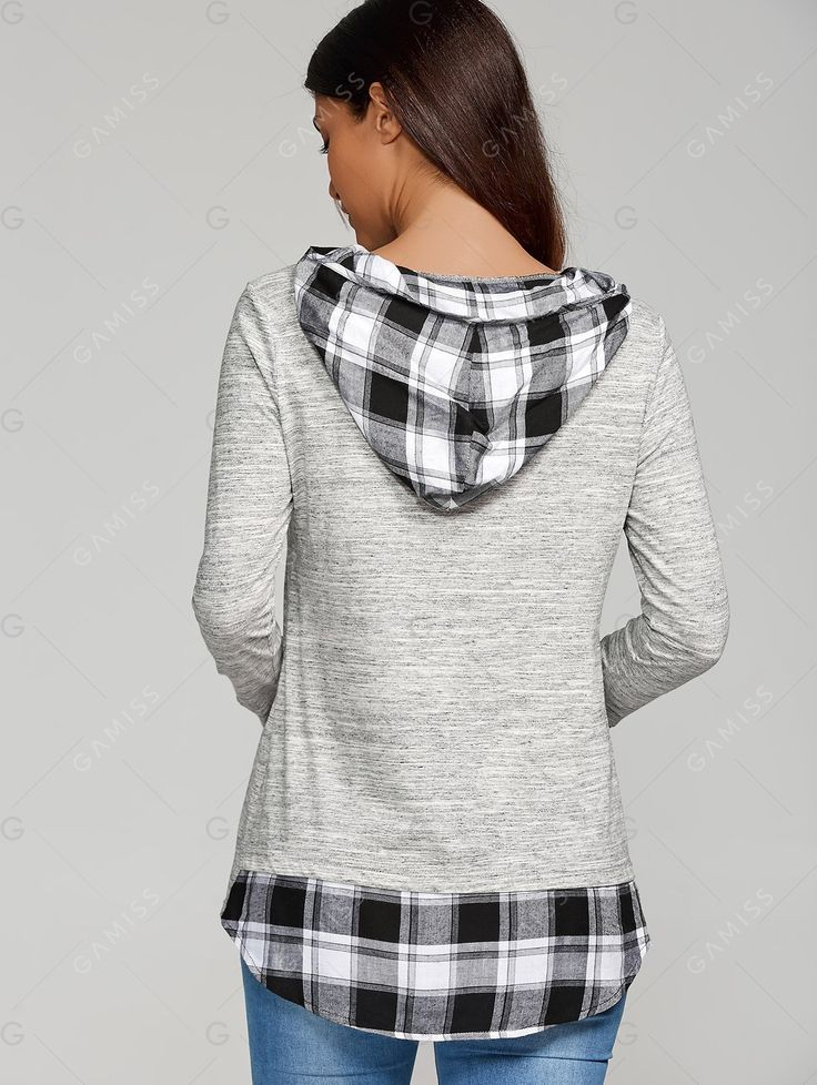 High Low Hem Plaid Patchwork Hoodie