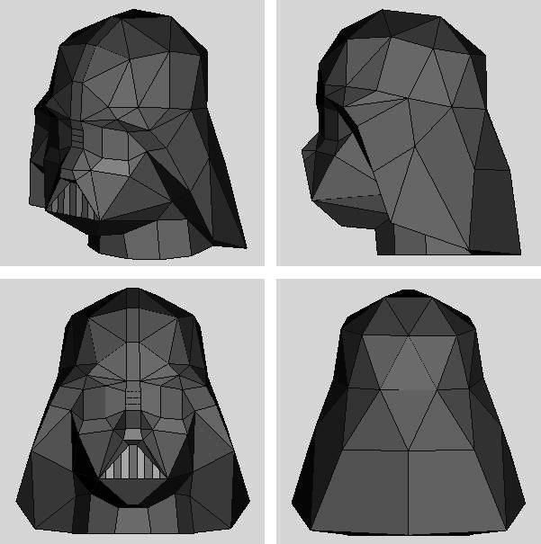 Star Wars - Darth Vader Mask Paper Model - by Hyakunin - == -  You need only two sheets of paper to build this mask of Darth Vader, created by Japanese designer Hyakunin. This model is something about 1/50 scale.