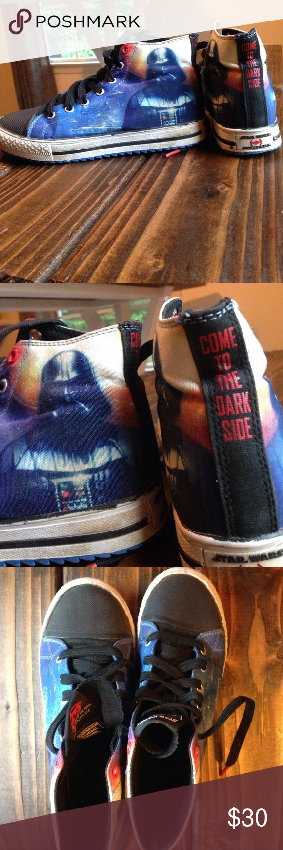 Star Wars Skechers I really wish these were my size. The graphics are awesome, inside of the shoes are like brand new. For any parent that has a kid and loves Star Wars this would be a perfect gift. Skechers Shoes Sneakers