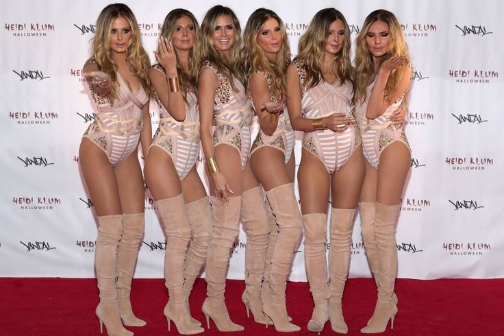 This year, Heidi Klum didn't have to do too much costume wise for her annual Halloween bash, but the five models who dressed up as identical Heidi Klum clones had to.