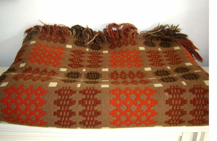 Vintage Reversible Welsh Wool Blanket CAMBRIAN MILLS LLANDYSSUL Rustic Colours