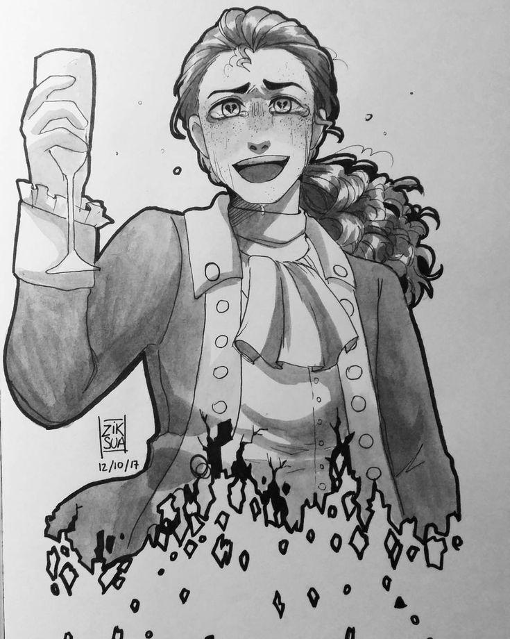 "Polubienia: 5,522, komentarze: 186 – Ziksua (@ziksua) na Instagramie: ""#inktober 12 - shattered. Hehe Laurens heart been shattered at the wedding of Hamilton #hamilton…"""