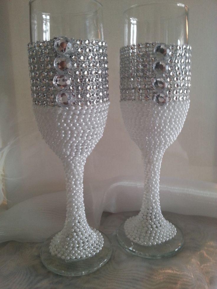 Wedding Toasting Glasses Pearl and Rhinestone. Set of 2 $65