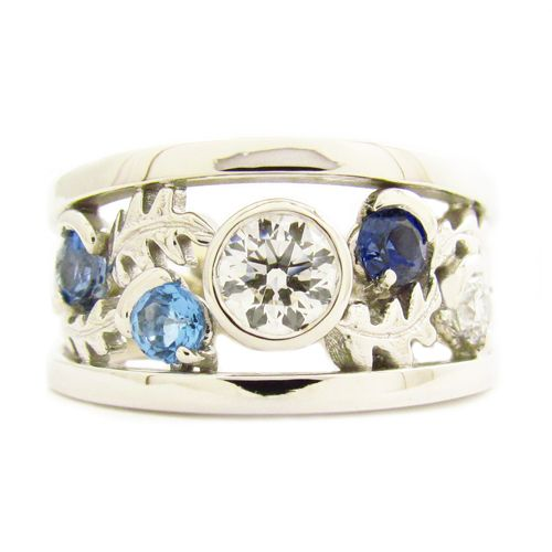 BLUE SAPPHIRE AND DIAMOND OAK LEAF RING