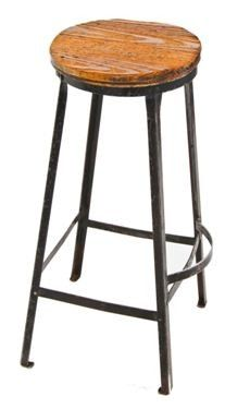 c. 1930's vintage industrial angled steel four-legged factory stool with curved…