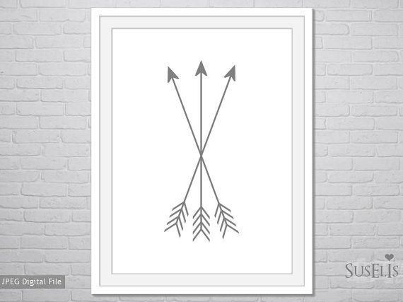 Printable Arrows Art grey Arrows art Arrows  Print 8x10 by Suselis