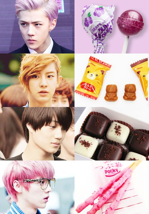 Exo as sweets, i love all of these, especially kai as chocolate. love how sehun is a lolipop:P but chanyeol looks like a historical warrior like in those dramas, this is probably my fav pic of channie, and the photo itself has rlly good phoography feel to it, with vibran colors. luhan the pocky:P