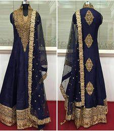 Buy Navy blue cotton silk embroidered semi stitiched salwar with dupatta anarkali-salwar-kameez online