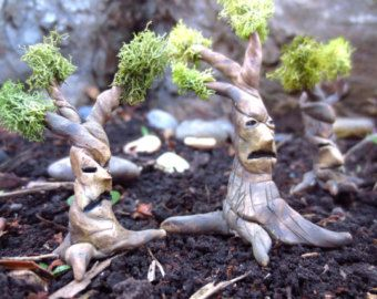 Troublesome Tree...Fairy House Miniature One Clay Tree Fairy Garden House Miniature Tree Fantasy Clay Trees Terrarium Decor
