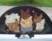 Primitve Country Chicken Door Crown Shelf Sitter-Handpainted
