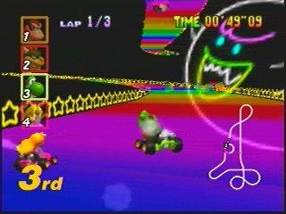 Mario Kart 64 - Rainbow Road - always been my favorite track - and happy Nintendo has kept it in every game