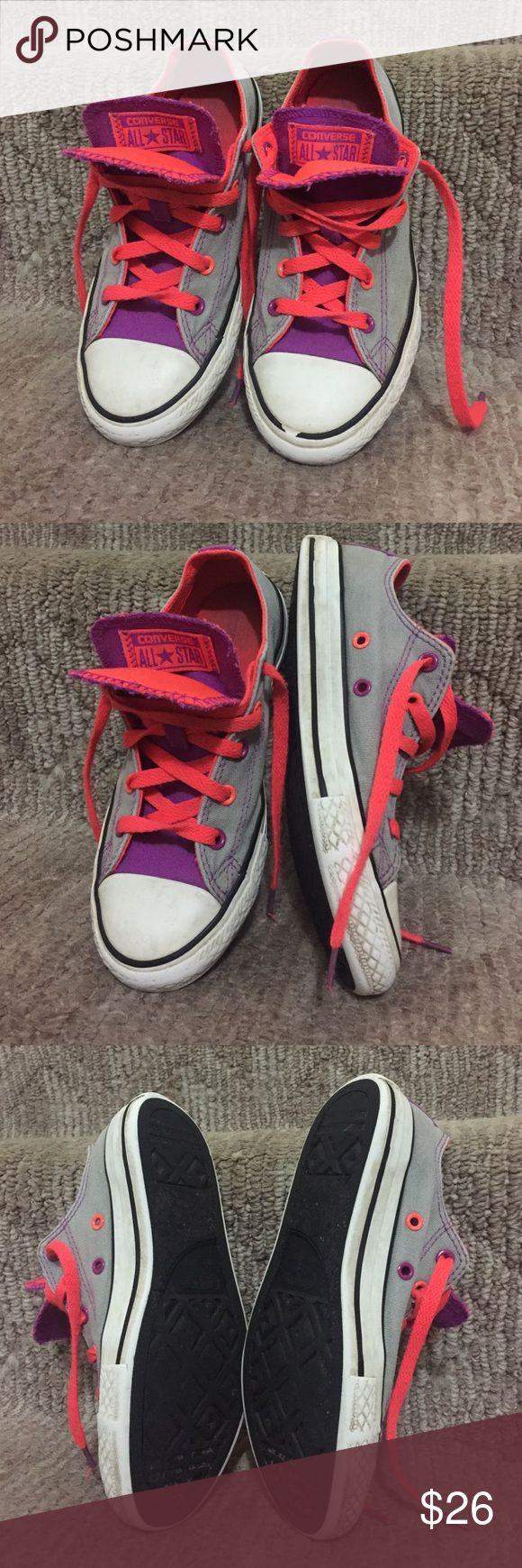 Girls converse sneakers Girls Converse shoes size 2, great combination of colors, purple, orange and gray.  Great condition Converse Shoes Sneakers