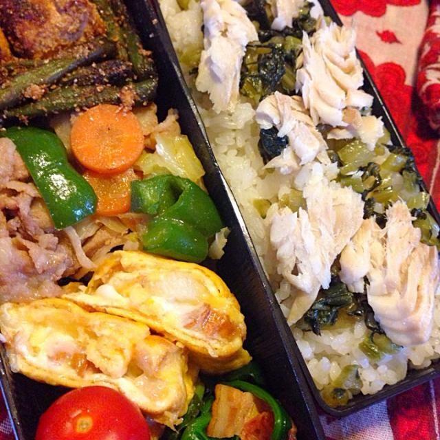 ご飯はホッケと青菜漬け炒め載せです - 39件のもぐもぐ - 厚揚インゲンの胡麻和えとチーズ卵焼き弁当 by Yukarisnaka